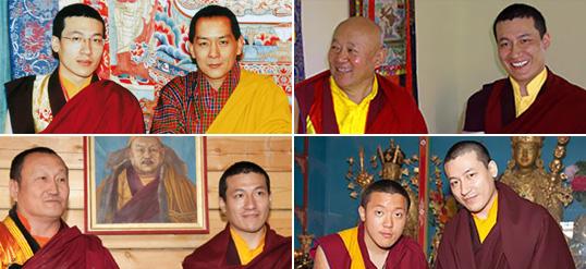 The 17th Karmapa with, from top left: the King of Bhutan Jigme Wangchuk, Drikung Chetsang Rinpoche, Hambo Lama Damba Ayusheeyev, Dilgo Khyentse Yangsi Rinpoche